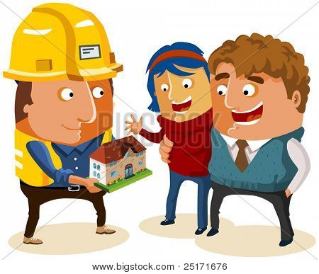 Just married couple Buy New House. Vector Illustration