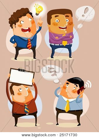 Set Businessman on vary activity. Vector illustration