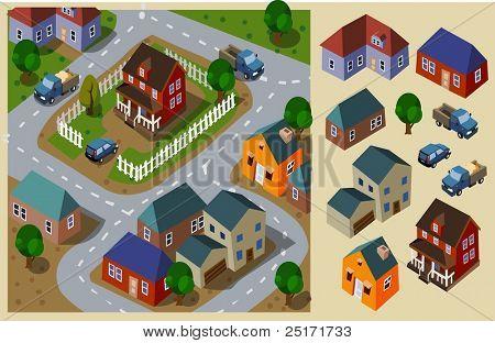 Neighborhood Isometric. Set of very detailed isometric vector poster
