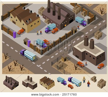 Factory area. Set of very detailed isometric vector