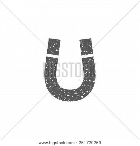 Magnet Icon In Grunge Texture. Vintage Style Vector Illustration.