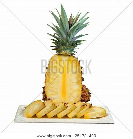 Pineapple Clipping Cutout On White Plate Cut In Wedges White Background
