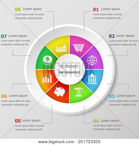 Infographic Design Template With Economy Icons, Stock Vector
