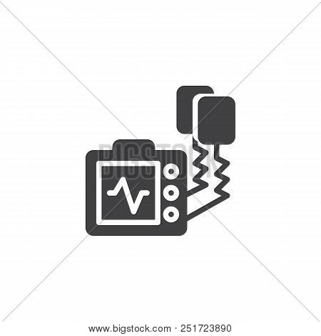 Defibrillator Machine Vector Icon. Filled Flat Sign For Mobile Concept And Web Design. Automated Ext