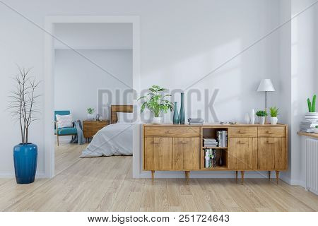 Scandinavian Interior Concept ,wood Cabinet On White Room And White Bedroom  Design ,empty Room ,3d