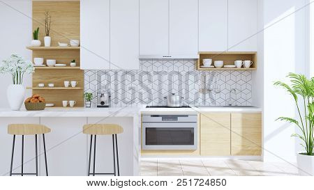 Modern Kitchen Room Interior,wood Stool With Marble Counter Bar And Modern Furniture ,white Pantry R