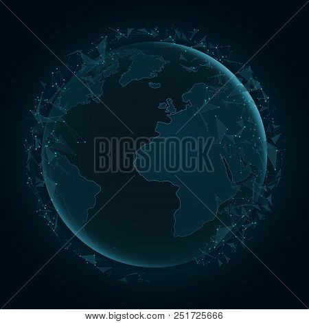 Abstract Planet Earth With Flying Triangles. World Map. Blue Lights. Sci-fi And Hi-tech. Plexus Styl