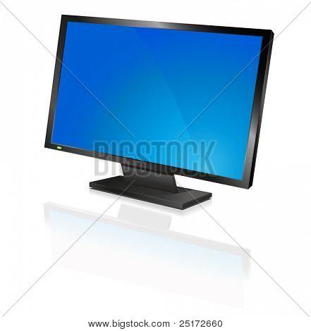 wide computer flat screen, blue