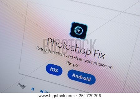 Ryazan, Russia - July 11, 2018: Adobe Photoshop Fix, Software Logo On The Official Website Of Adobe