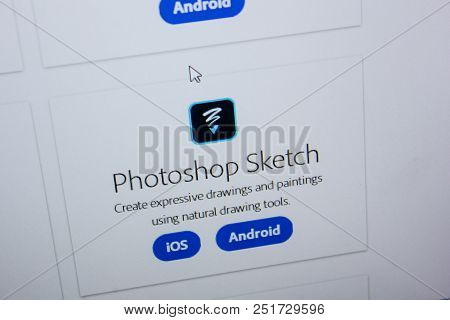 Ryazan, Russia - July 11, 2018: Adobe Photoshop Sketch, Software Logo On The Official Website Of Ado