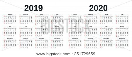 2019, 2020 Calendar. Vector Graphics. Week Starts Sunday. Design Stationery Template With Months Of