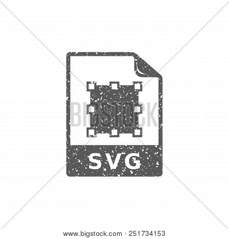 Svg File Icon In Grunge Texture. Vintage Style Vector Illustration.