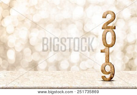 Happy New Year 2019 Wood With Sparkling Star On Marble Table With Gold Bokeh Background,holiday Fest