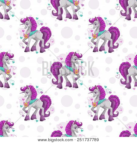 Seamless Pattern With Cute Cartoon Pretty Fantasy Unicorn. Girlish Background Template. Lovely Child