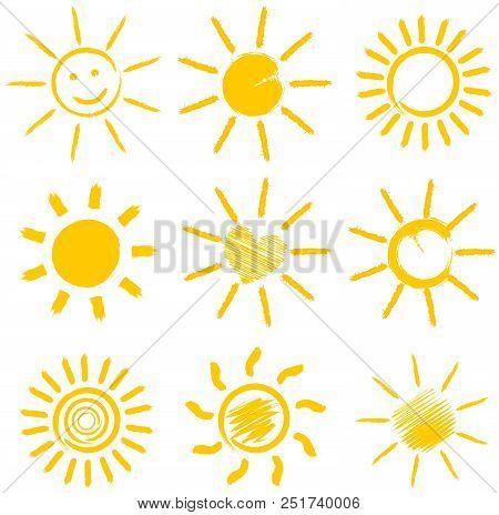 Set Of Orange Sun Icons Vector Illustration