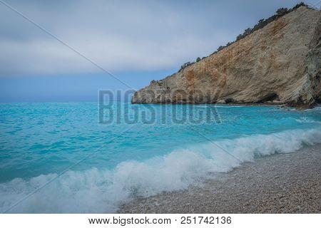 A White Beautiful Beach In Lakada, Greece