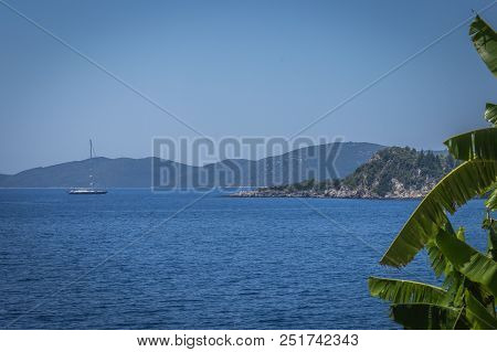 A Sailboat In The Sea By Lefkada, In Greece