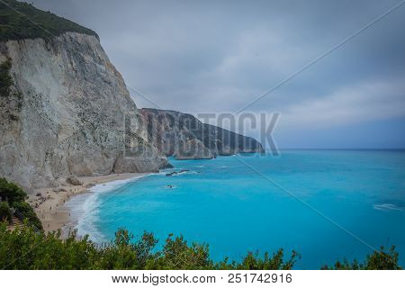 White Beach With A Blue Sea In Lakada, Greece