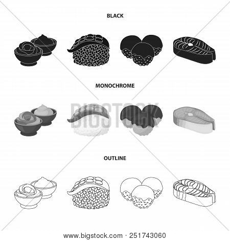 Wasabi Sauce And Ginger, Salmon Steak, Octopus. Sushi Set Collection Icons In Black, Monochrome, Out