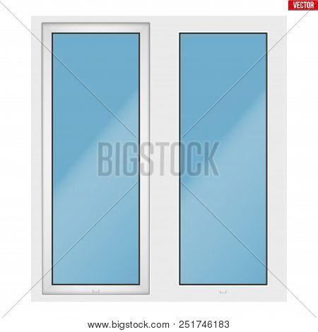 Metal Plastic Pvc Window With Two Sash And One Opening Casement. Outdoor View. Presentation Of Model