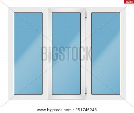 Metal Plastic Pvc Window With Three Sash And One Opening Casement. Indoor View. Presentation Of Mode