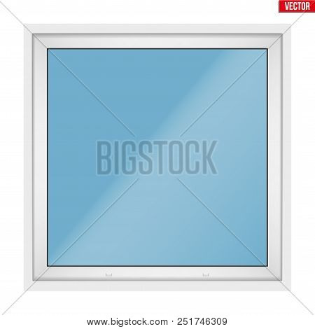 Square Metal Plastic Pvc Window With One Sash And One Opening Casement. Outdoor View. Presentation O