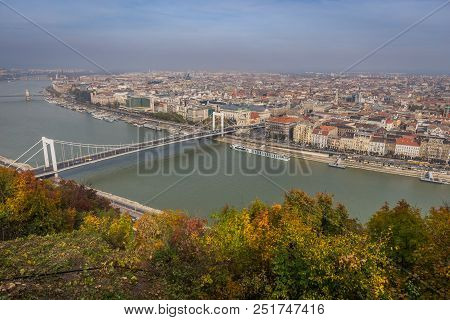 Skyview Of Budapest With Bridge Over Danube