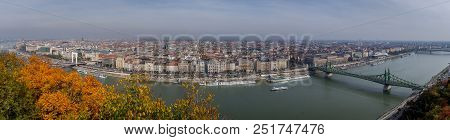 The Crossings Of The Danube River. Great Panoramic Photograph Of Budapest