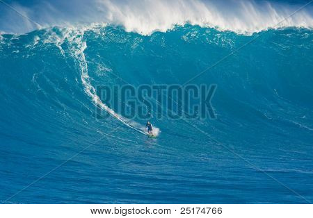 MAUI, HI - MARCH 13: Professional surfer Marcio Freire catches a giant wave at the legendary big wave surf break known as