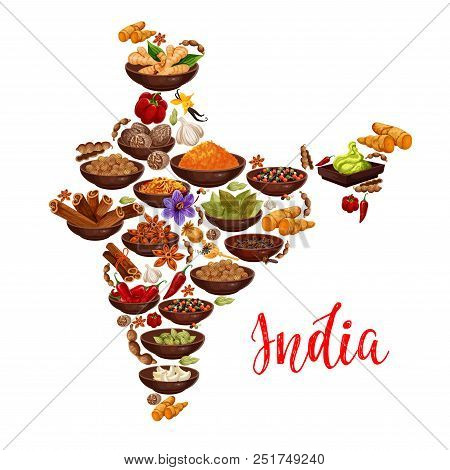 Indian Cuisine Spices In India Map Vector Design Of Curry, Ginger And Anise With Masala Seasonings O