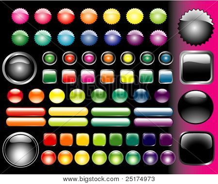 set of vector colored glass buttons various form