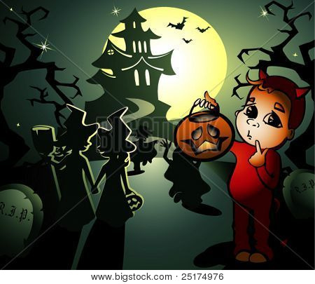 vector halloween illustration with little witches and hobgoblin