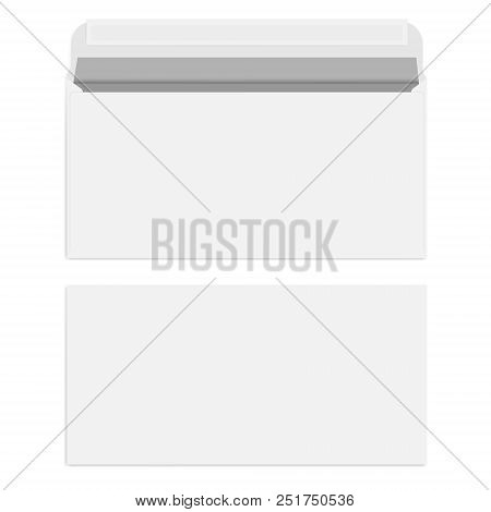 White Blank Envelope With Self Adhesive Seal Isolated On White Background, Vector Template