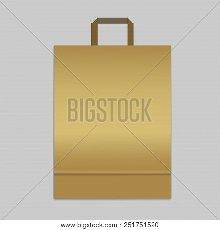 Paper shopping or merchandise bag with handle, vector mock up. Golden colored package with bottom gusset, template poster