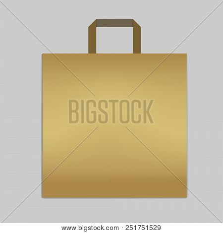 Paper shopping or merchandise bag with handle, vector mockup. Golden colored square retail package, template poster