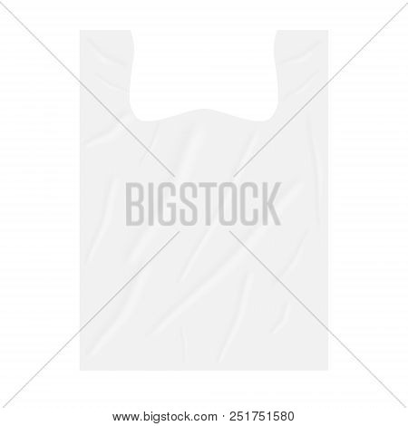 Blank Biodegradable Plastic T-shirt Bag Isolated On White Background, Vector Mockup