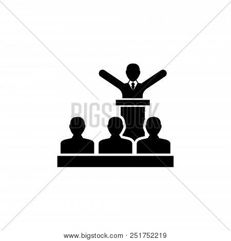 Speaker President With Crowd People. Flat Vector Icon Illustration. Simple Black Symbol On White Bac