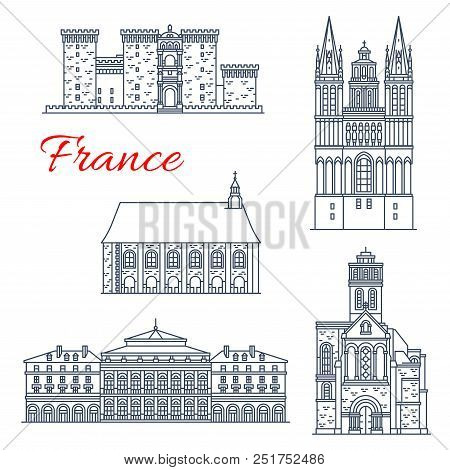 France Landmarks And Famous Historic Architecture Buildings And Castles Of Angers. Vector Thin Line