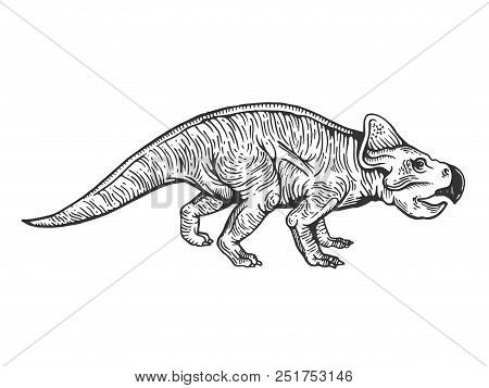 Protoceratops Dinosaur Prehistoric Extinct Animal Engraving Vector Illustration. Scratch Board Style