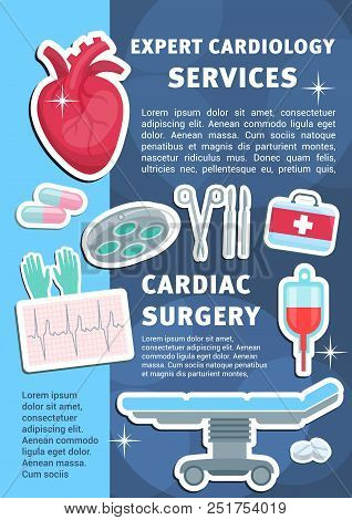 Cardiology Medicine Poster For Heart Health Clinic And Medical Surgery. Vector Design Of Cardiologis