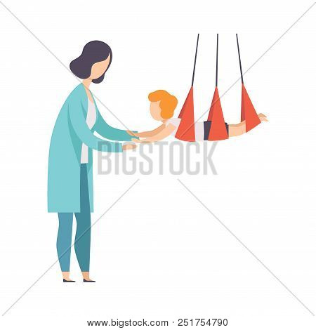 Therapist working with little patient using special equipment, recovery after trauma, medical rehabilitation, physical therapy activity vector Illustration isolated on a white background. poster