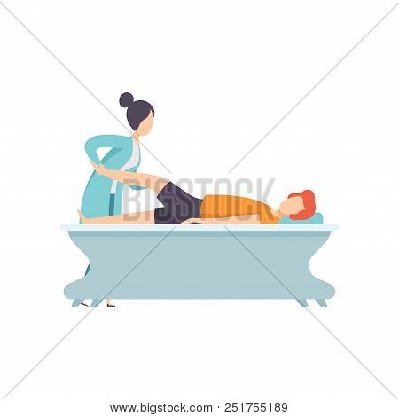 Man Receiving Leg Physical Therapy, Medical Rehabilitation, Physical Therapy Activity Vector Illustr