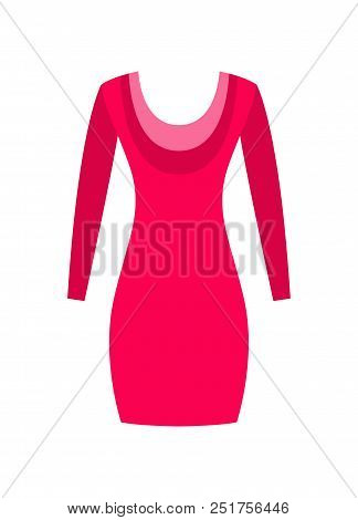 Red Dress With Round Collar, Made From Cotton Or Wool Vector Illustration Spring Summer Collection F