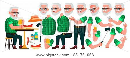 Old Man Vector. Senior Person Portrait. Elderly People. Aged. Animation Creation Set. Face Emotions,