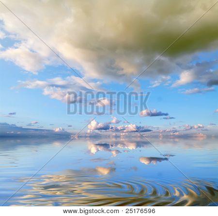 sea-piece on a background beautiful sky