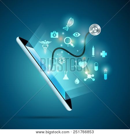 Concept Of Health Care Technology Or E-health, Realistic Device With Medical Icons