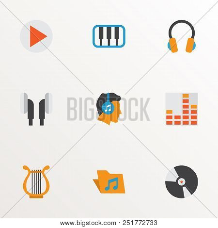 Multimedia Icons Flat Style Set With Begin, Archive, Compact Disk And Other Sonata Elements. Isolate