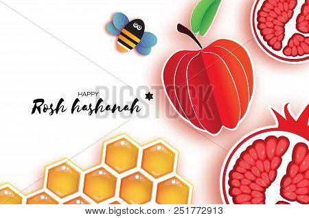 Red Ripe Pomegranate And Gold Honeycomb. Jewish New Year, Rosh Hashanah Greeting Card. Origami Honey