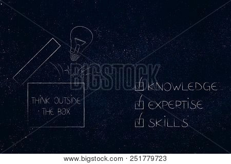 Knowledge Expertise And Skills Conceptual Illustration: Ticked Off Captions Next To Think Outside Th