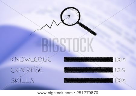 Knowledge Expertise And Skills Conceptual Illustration: Progress Bars At 100 Per Cent Next To Magnif